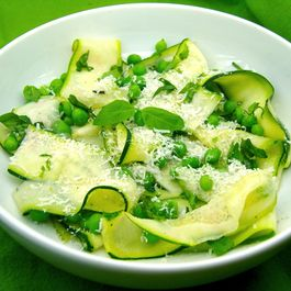 Zucchini and Pea Salad with Parmesan Reggiano and Fresh Basil