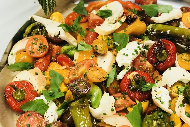 Roasted Pepper and Heirloom Tomato Caprese