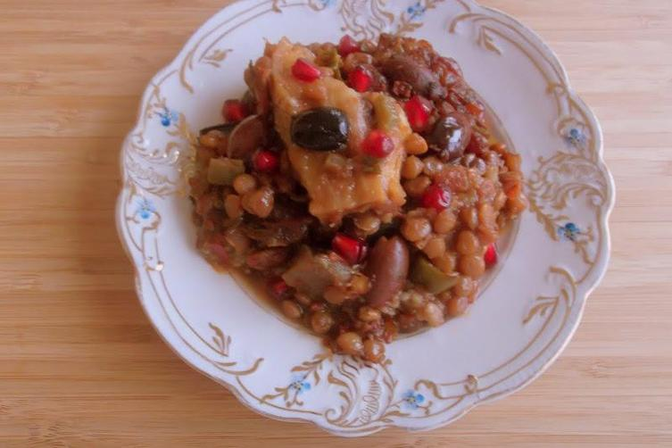 Eggplant-Lentil Stew with Homemade Pomegranate Molasses