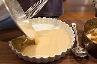 Pour the batter into the baking dish