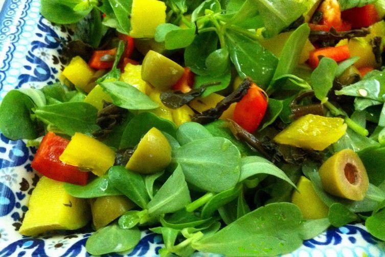 Salad with summer squash and purslane. Recipe on Food52