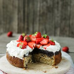 Poppy Seed Upside Down Cake with Strawberries