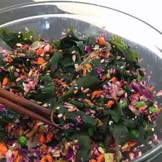 Seaweed (Wakame) Colorful Confetti Salad with Sweet Black Sesame Dressing