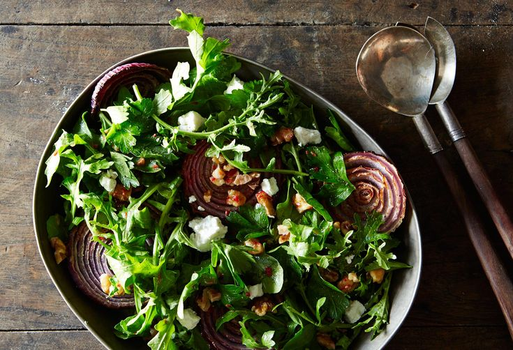 Yotam Ottolenghi's Red Onion Salad with Arugula and Walnut Salsa
