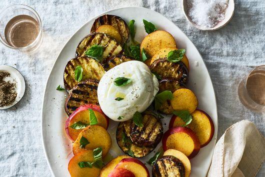 Grilled Eggplant & Peach Caprese Salad