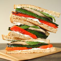 Grilled Vegetable Sandwiches with Herbed Goat Cheese