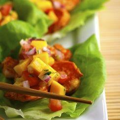 Spicy Shrimp Lettuce Wraps with Mango Salsa