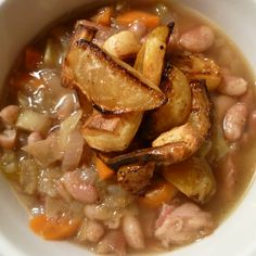 Bean and ham stew with roasted vegetable garnish