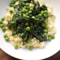 Baked Pasta Risotto with Peas, Mascarpone + Spinach