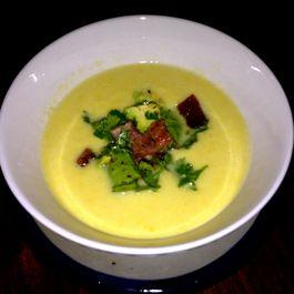 corn soup w bacon, avocado and cilantro salsa