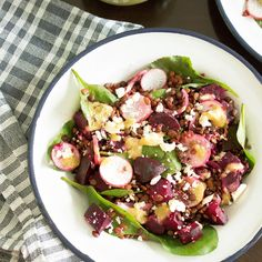 Roasted beet and horsegram salad with feta