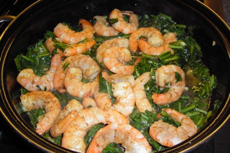 Shrimp with Dandelion Greens