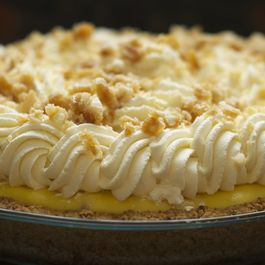 Banana Cream Pie with Macadamia Nut, Honey & Cardamom Brittle