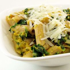 Roasted Butternut Squash and Spinach Penne Pasta