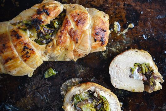 Brussel Sprout, Red Onion, And Feta Stuffed Chicken