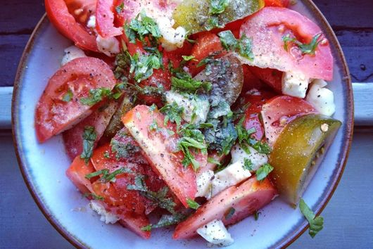 Tomatoes, Goats Cheese and Herb Salad
