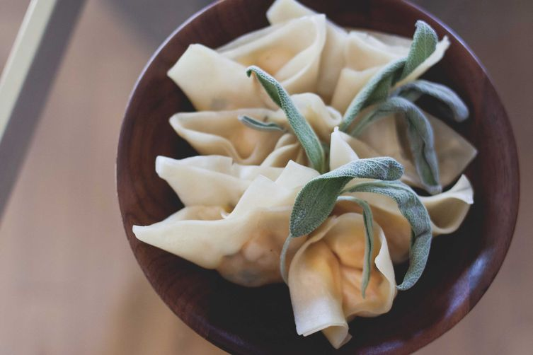 Roasted Seminole Pumpkin, Sage & Goat Cheese Wontons
