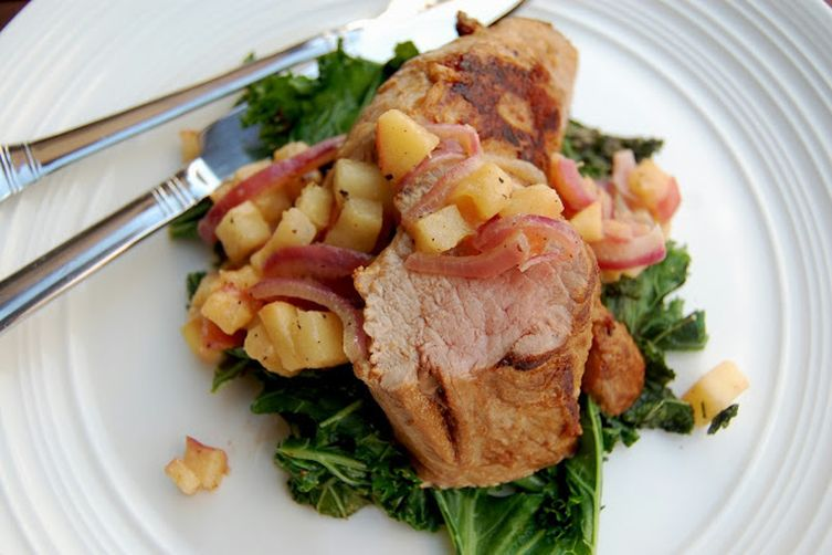 Marinated Pork Tenderloin and Easy Apple Compote