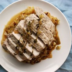 Pork Loin with Cider-Braised Leeks and Apples