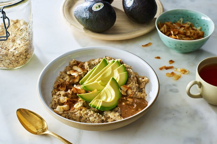 Coconut Stovetop Oats with Avocado, Chia, and Almond Butter