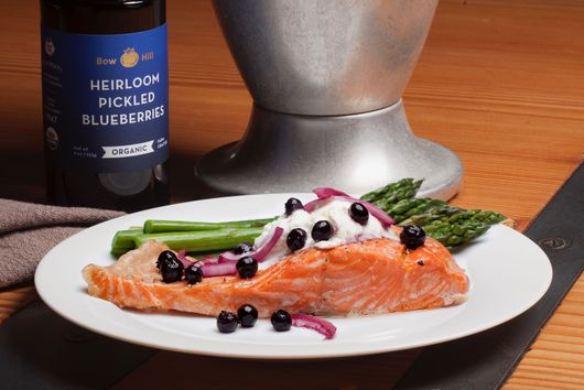 Salmon with Pickled Blueberries