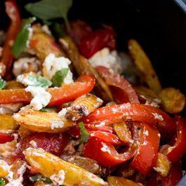 Potato Salad with Baked Vegetables, Cumin, Feta and Basil