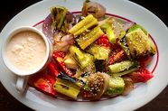 Grilled Leeks, Red Onions with Tomatoes and Thousand Island Dipping Sauce