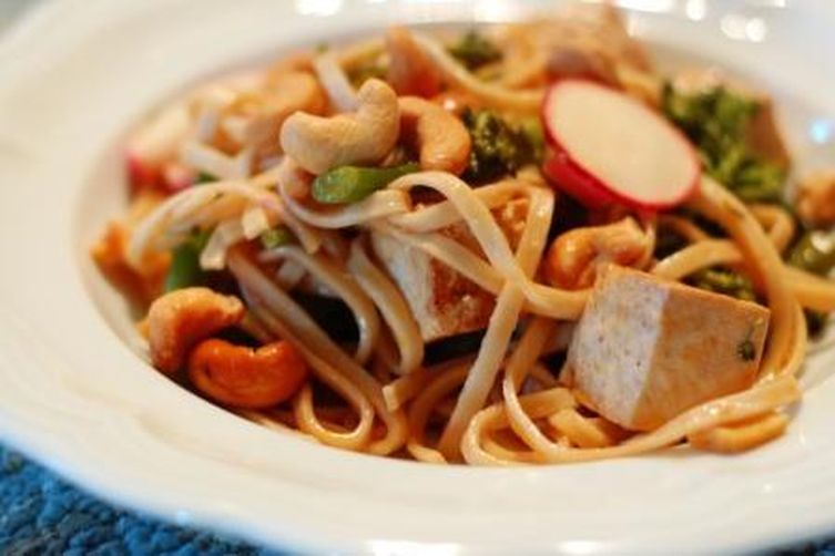 Udon Noodles with Broccolini, Spicy Tofu & Cashews