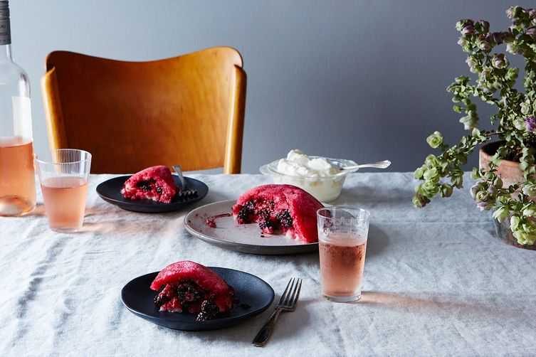 Helen's Summer Berry Pudding with Rose Cream