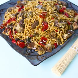 Ramen Salad with Roasted Eggplant and Shishito Peppers