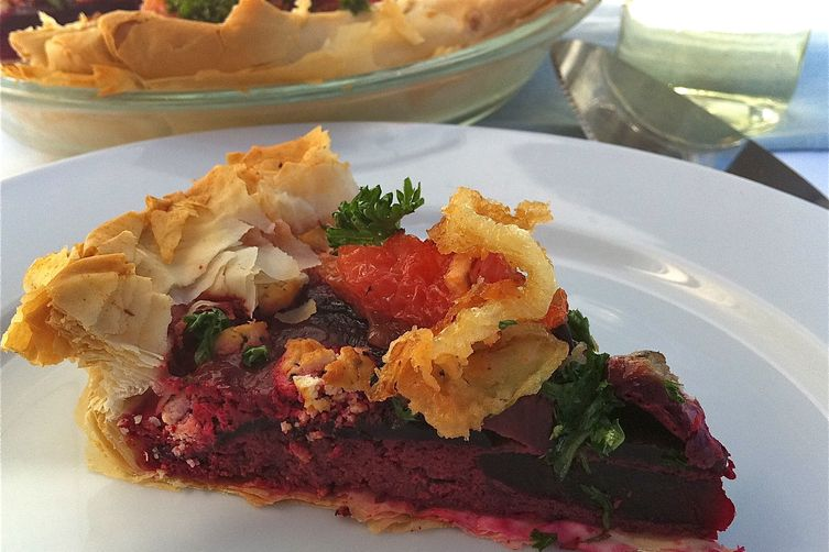 Roasted Beet Custard Tart with Caramelized Grapefruit & Crispy Onions