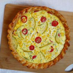 Tomato, Corn and Goat Cheese Pie