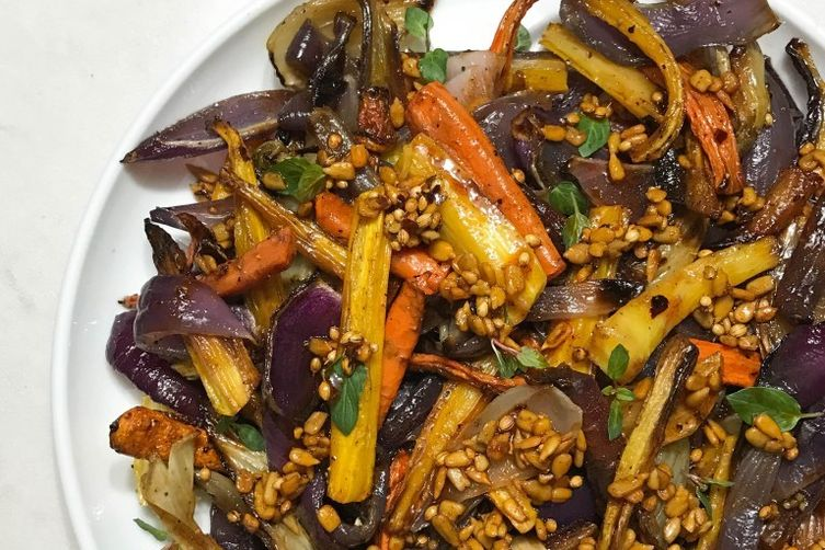 Roasted Carrots, Onion, and Fennel with a Spiced Sherry Vinaigrette