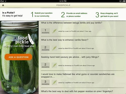 foodpickle iPad app