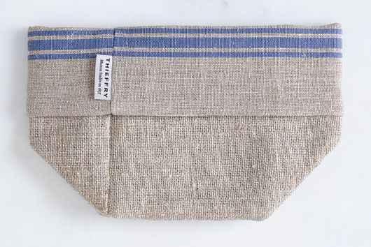 Oatmeal Linen Striped Bread Basket