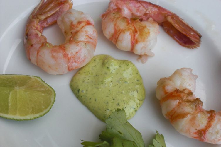 """Last of the Season """"Grilled"""" Spot Prawns with Garlic Scape, Cilantro and Lime Aioli"""