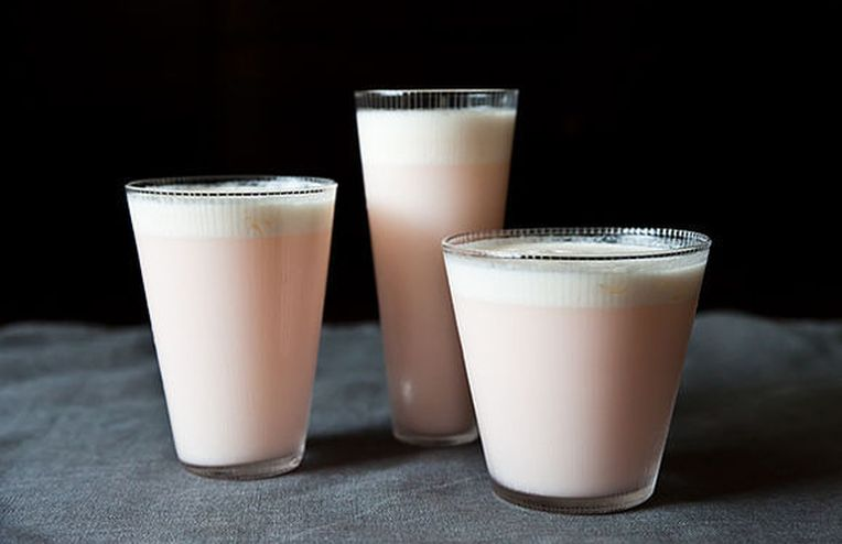 Rhubarb and Rose Ramos Gin Fizz