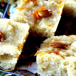Basbousa - Semolina Cake soaked in a Lemon Rosewater Syrup