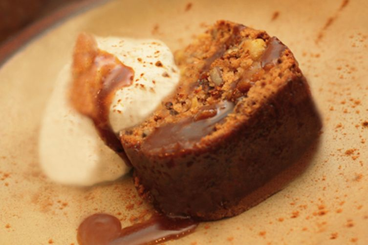 Chipotle Apple Pecan Cake with Spicy Caramel Glaze