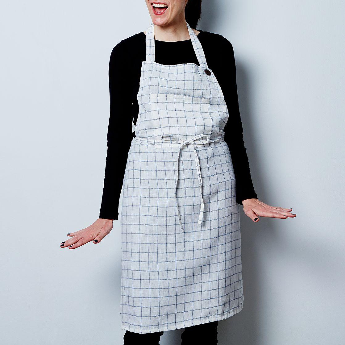 White linen apron - Washed Linen Apron