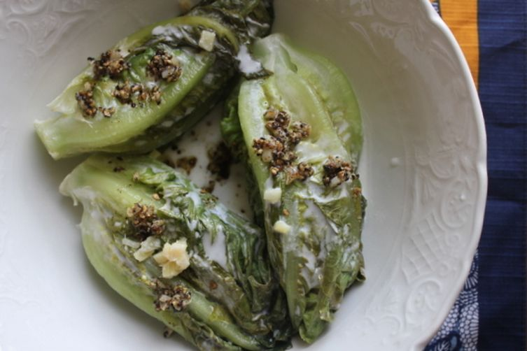 Coconut Milk Braised Lettuce with Ginger, Garlic and Pepper
