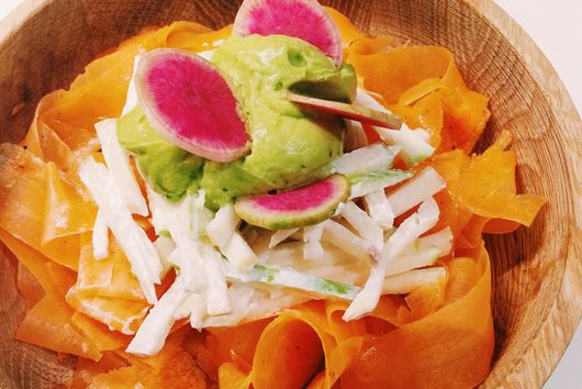 Spring Carrot Ribbon Salad with Apple Kohlrabi Slaw and Avocado Cream