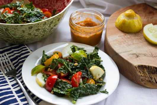 Tomatoes Galore Kale Salad with Tomato Basil Vinegairette
