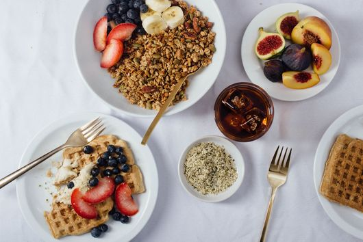 Rye Waffles with Ginger Cream