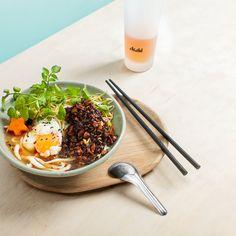 Noodle Soup w Mushroom-Tofu 'mince' + Slow Egg