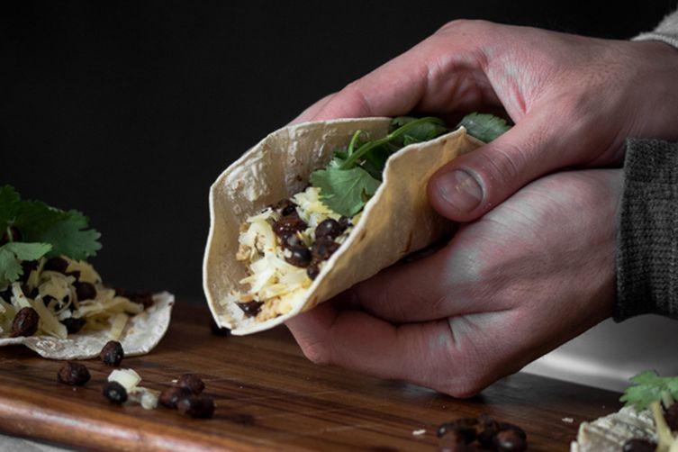 Scrambled Egg and Spiced Black Bean Breakfast Taco