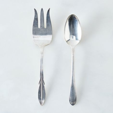Vintage Silver-Plated Serving Fork and Spoon