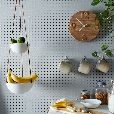 Hanging Two-Tiered Ceramic Fruit Basket