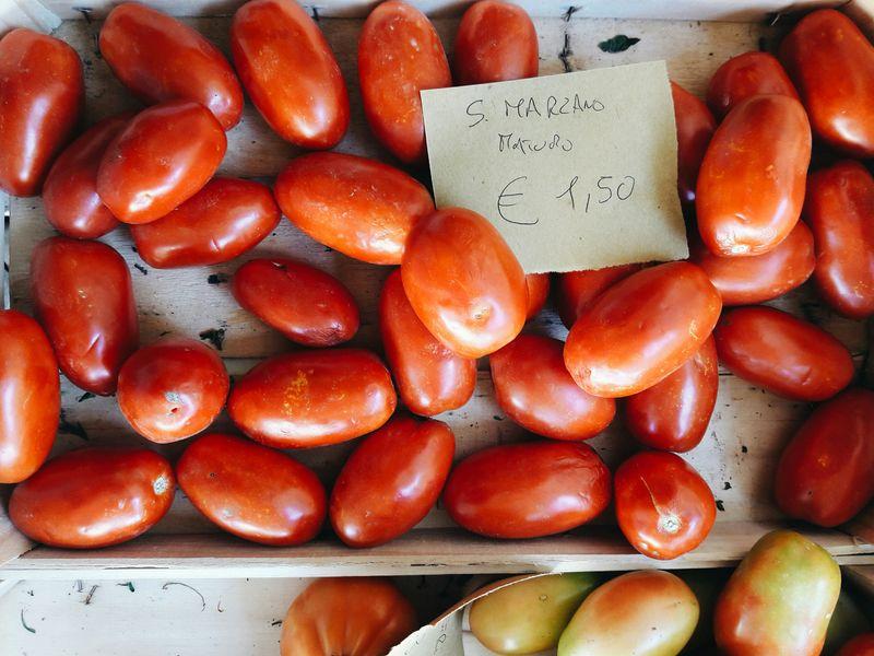 Ripe San Marzano tomatoes.