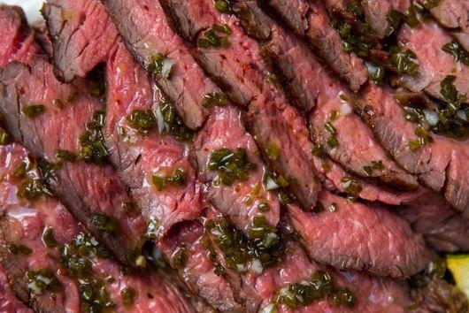 Grilled Flank Steak with Zucchini, Tzatziki, and Fresh Herb Vinaigrette